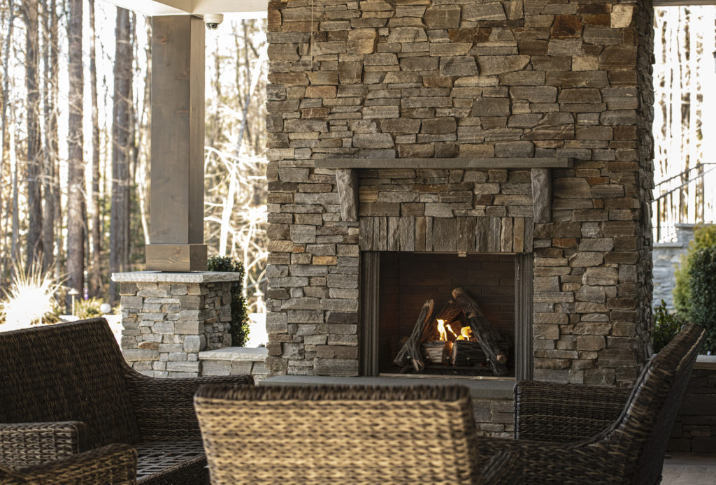 updated patio fireplace Charlotte